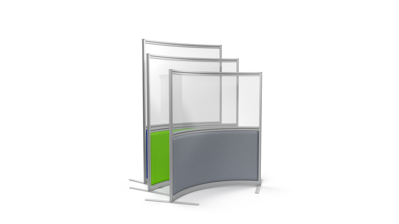 Premium Curved Part Glazed Office Screen