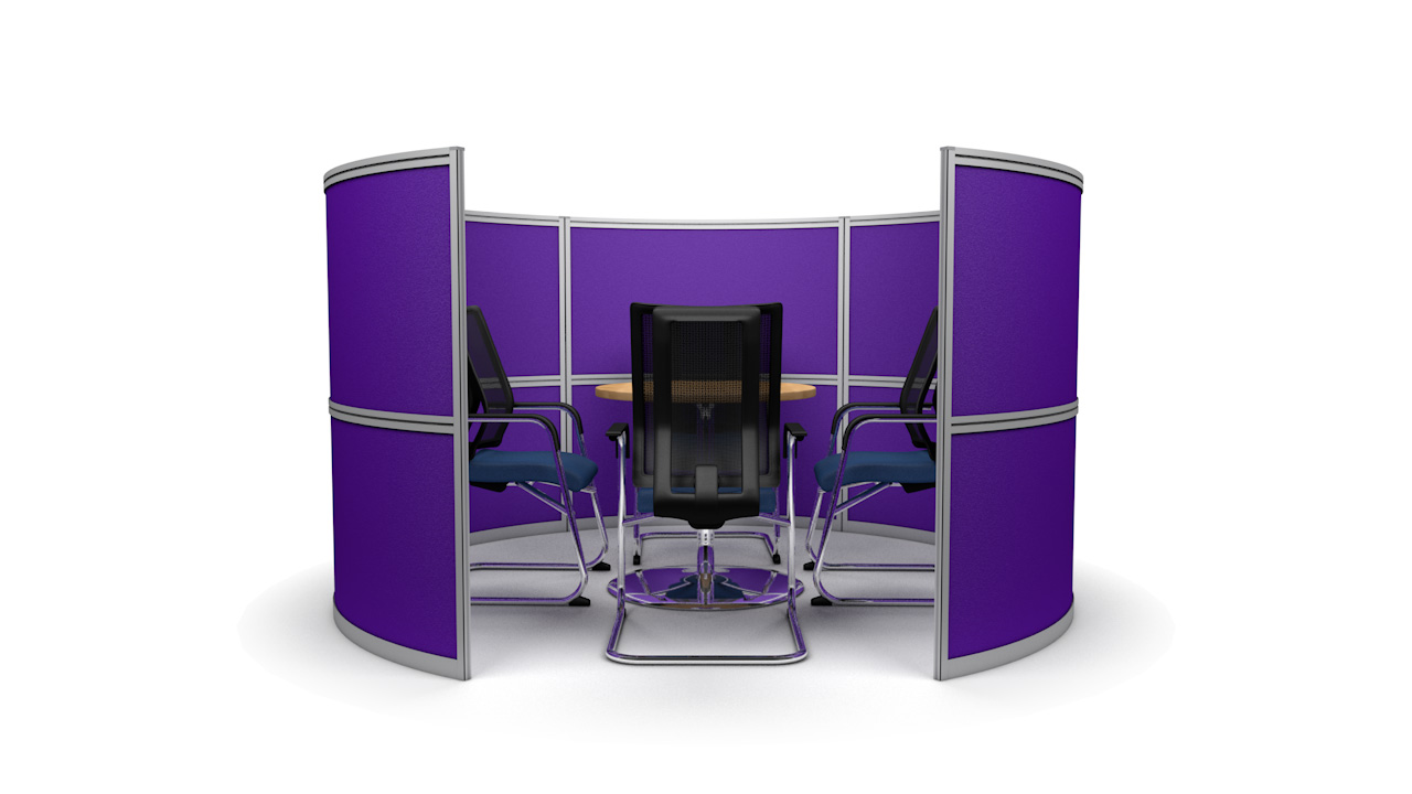 4 Person Round Office Meeting Booth 2.4m Wide