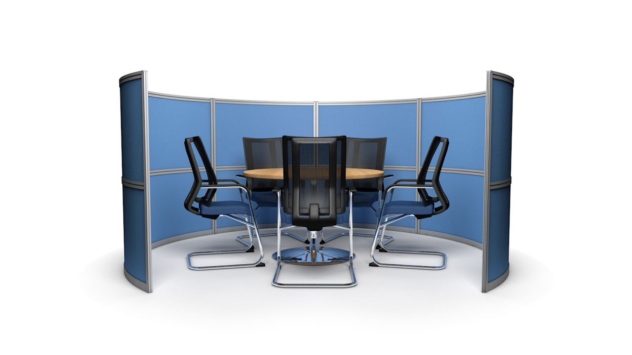 5 Person Circular Office Screen Meeting Booth 3m Wide
