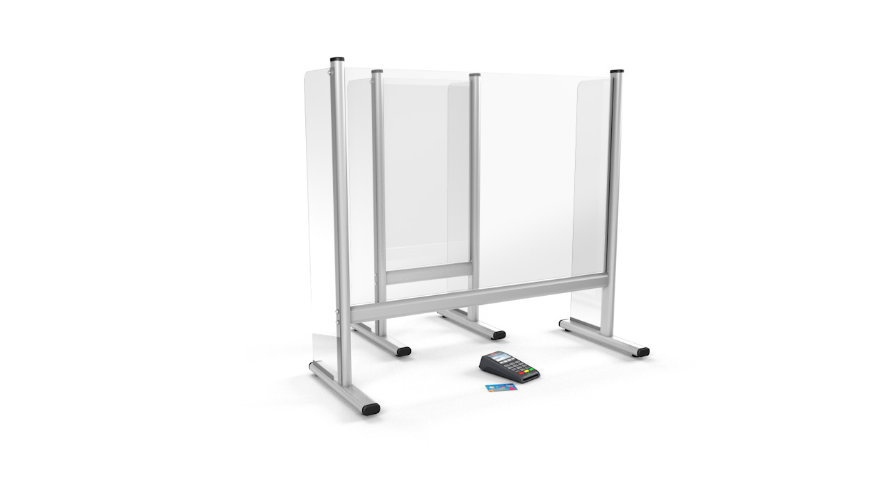 Free Standing Desk Counter Perspex Sneeze Screen With Sidewall Protection
