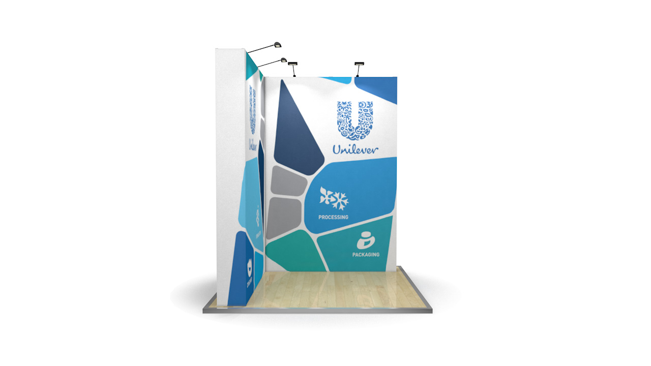 2m x 2m Fabric L-Shaped Pop Up Stand