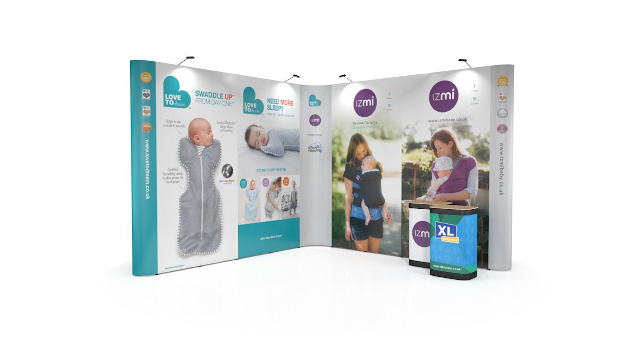 4m x 4m L-Shaped Pop Up XL Jumbo Pop Up Display Stand