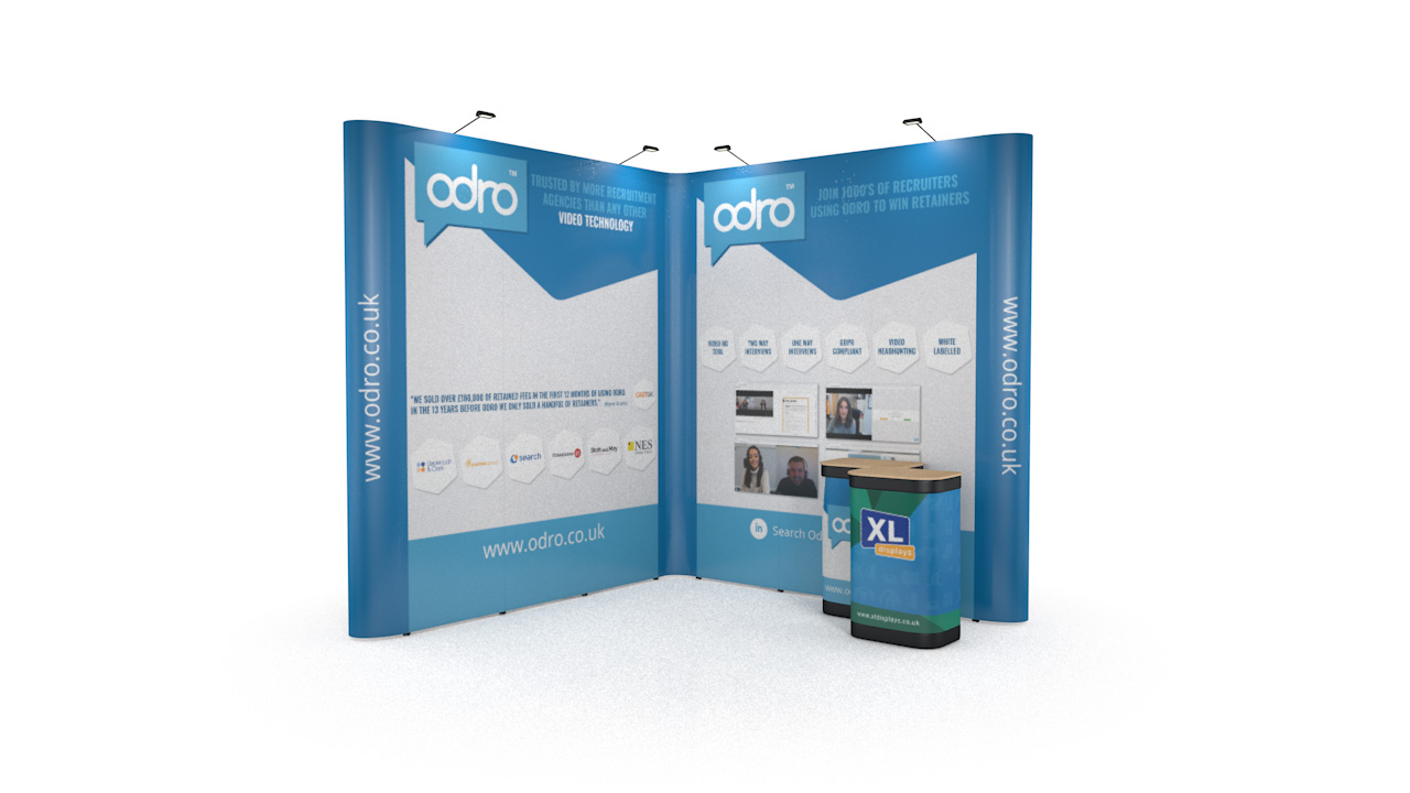 3m x 3m Exhibition Stand Backwall XL Jumbo Pop Up