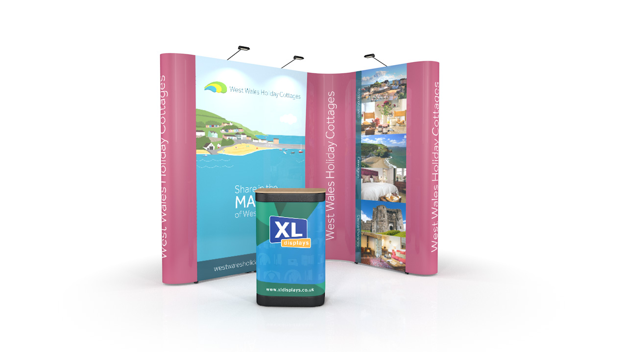 3m x 2m L-Shaped Pop Up Display Stand