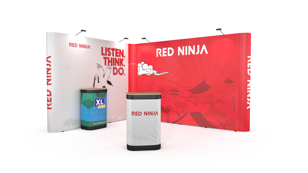 3m x 4m Linked Pop Up Exhibition Stand L-Shaped