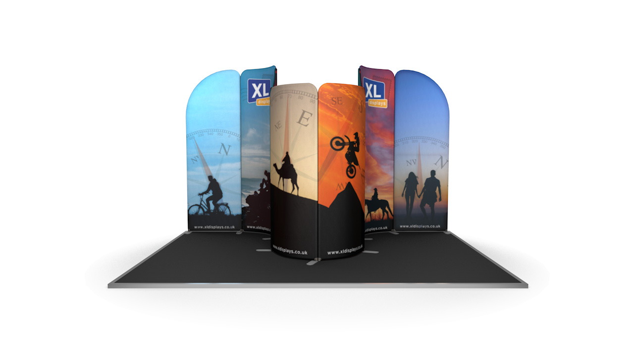 Modulate™ 3m x 4m Curved Fabric Backwall Exhibition Stand