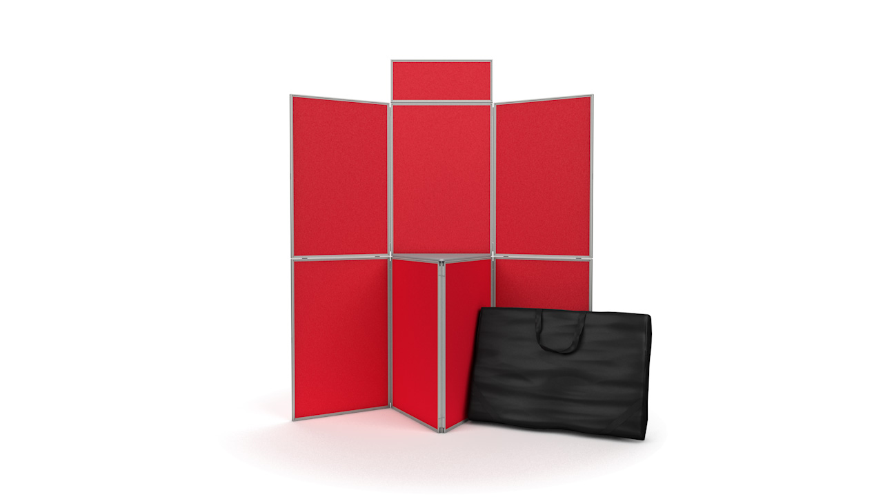 7 panel folding display board inc. header shelf and carry bag