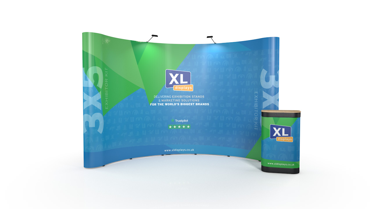 3x5 pop up stand including frame  graphics  portable carry case and spotlights