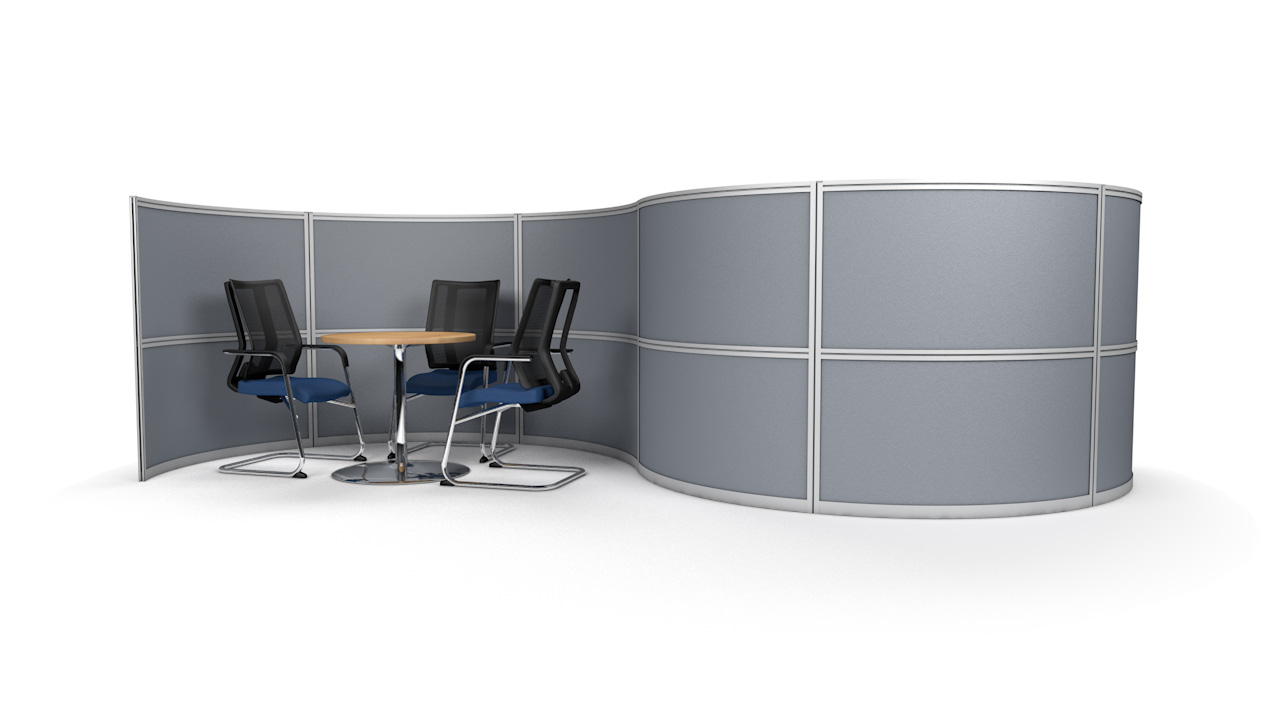 S-Shaped Office Screen Partition With Two Meeting Pods