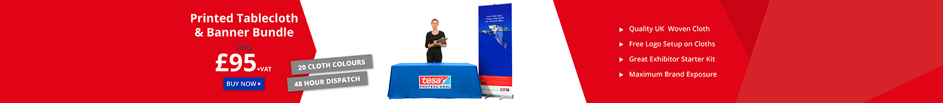 Printed Table Cloth With Logo and Branded Roller Banner Bundle UK