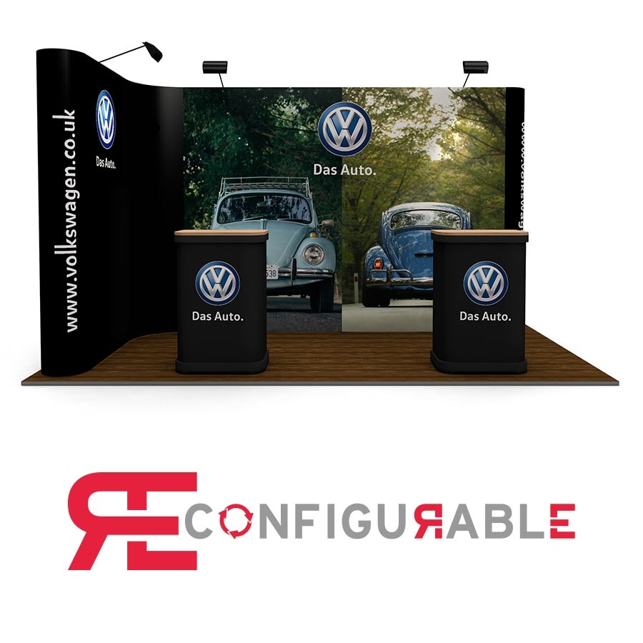 2m x 4m L-Shaped Linked Pop Up Display