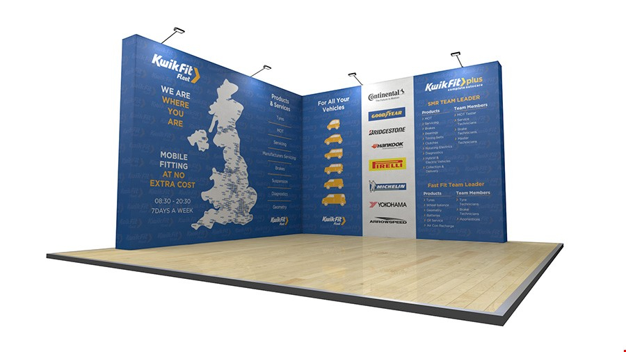 4m x 4m L-Shaped Fabric Pop Up Stand