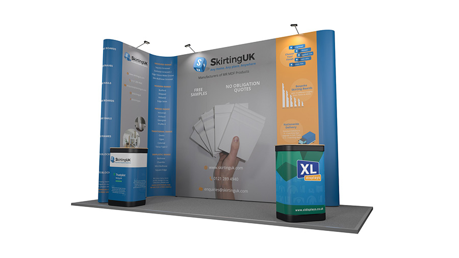 5m x 2m Exhibition Stand Backwall XL Jumbo Linked Pop Up Stand