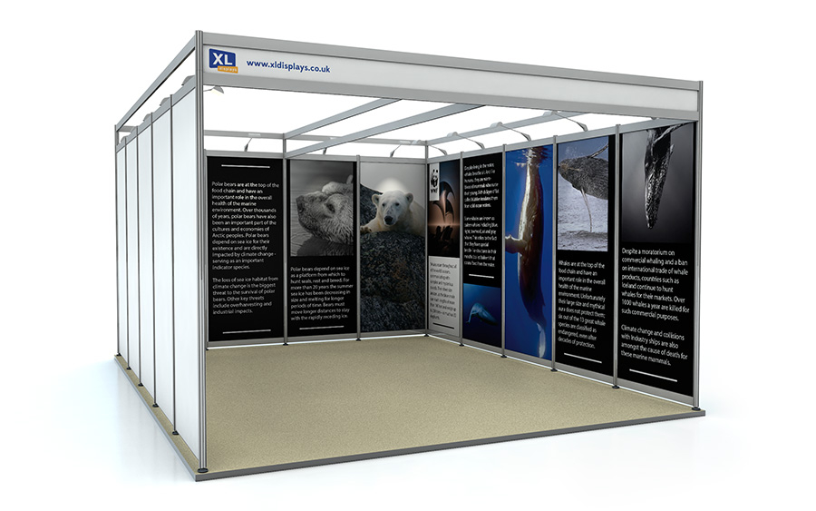 5m x 4m U-Shape Shell Scheme Exhibition Stand Foamex Graphics