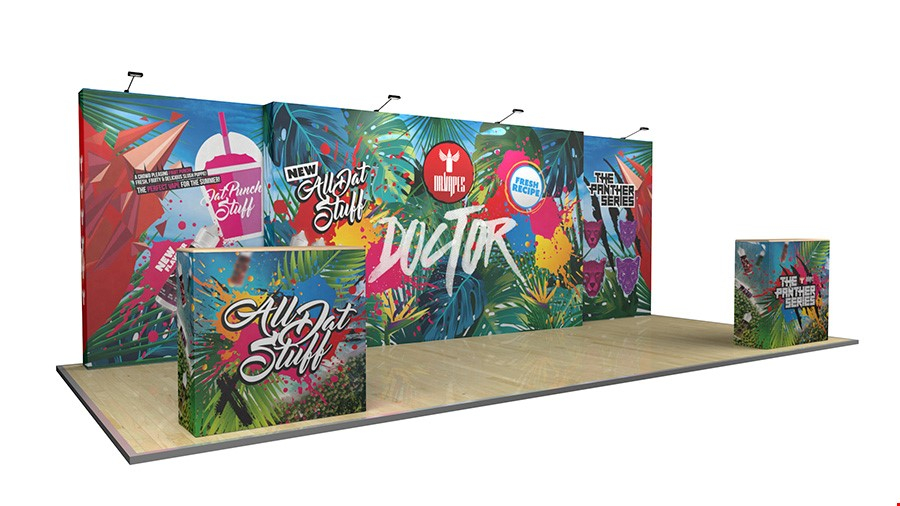 7m Fabric Exhibition Stand Pop Up Display Wall