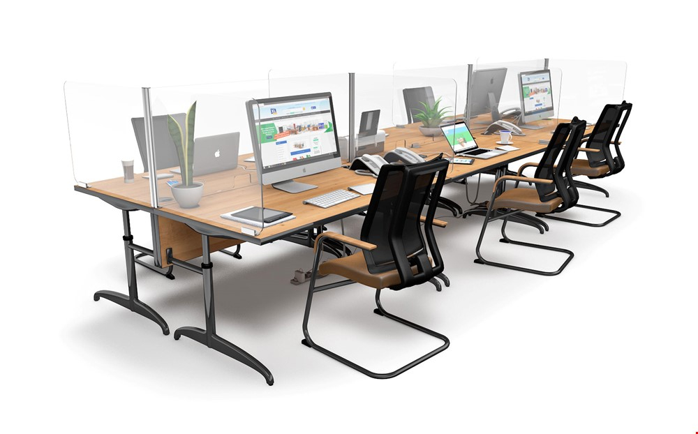ACHOO<sup>®</sup>  Crystal Clear Modular Desk Screens 6 Bay Workstation Dividers