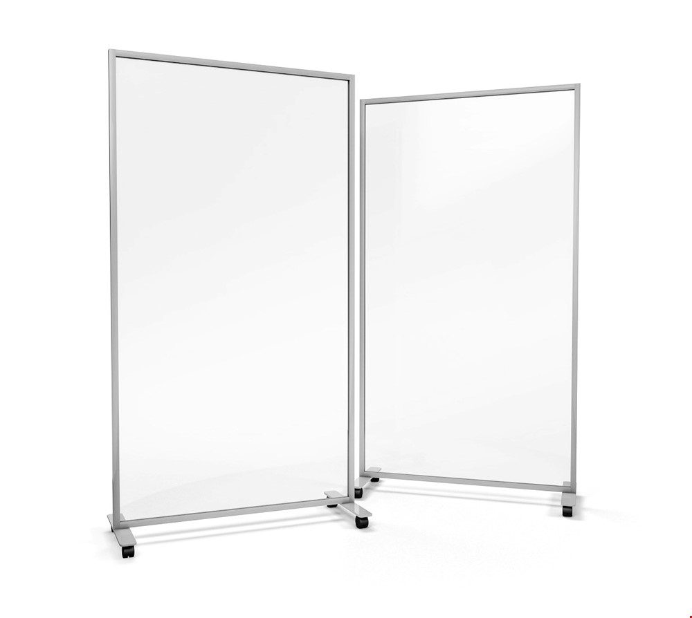 ACHOO<sup>®</sup> Crystal Clear Portable Glass Office Divider On Wheels