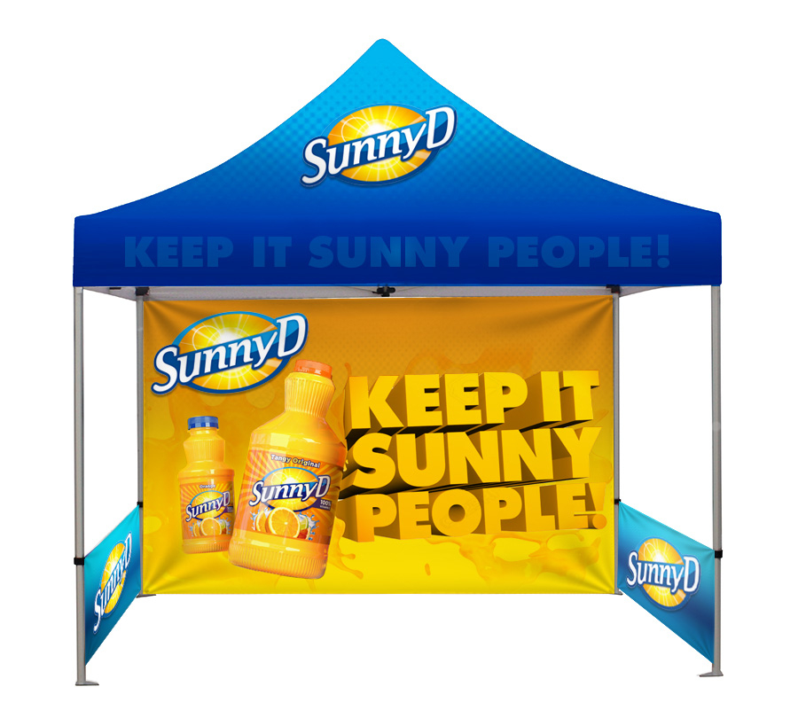 Branded Gazebo with Printed Back Wall and 2 Half Side Walls