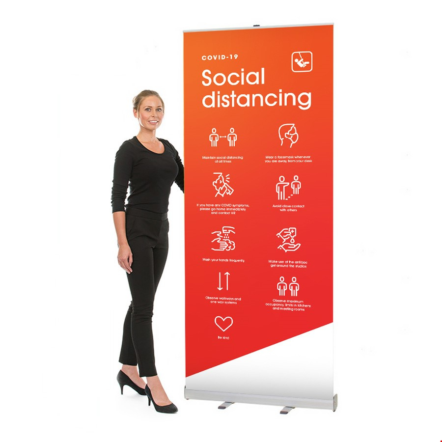 Social Distancing Printed Roller Banner