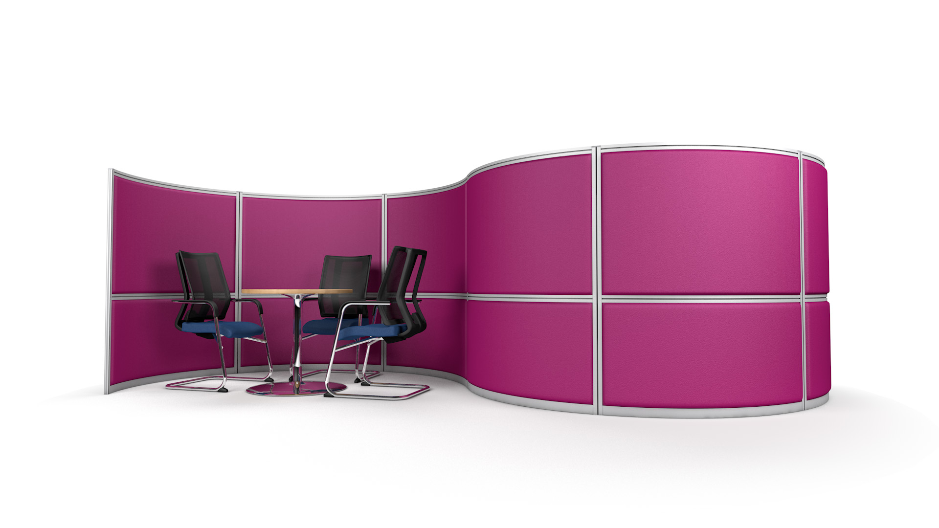 S-Shaped Acoustic Office Screen Wall With Two Meeting Booths
