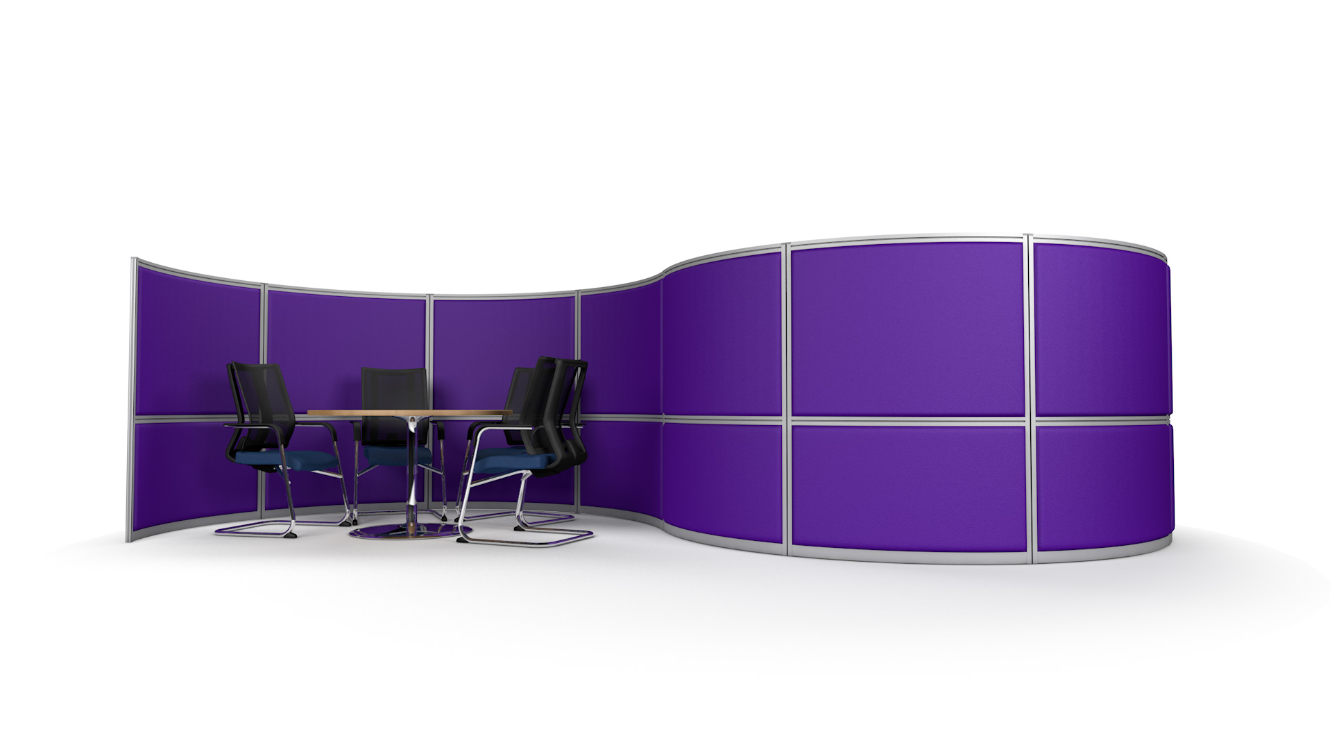 S-Shaped Acoustic Office Screen Wall 6m With Two Meeting Booths