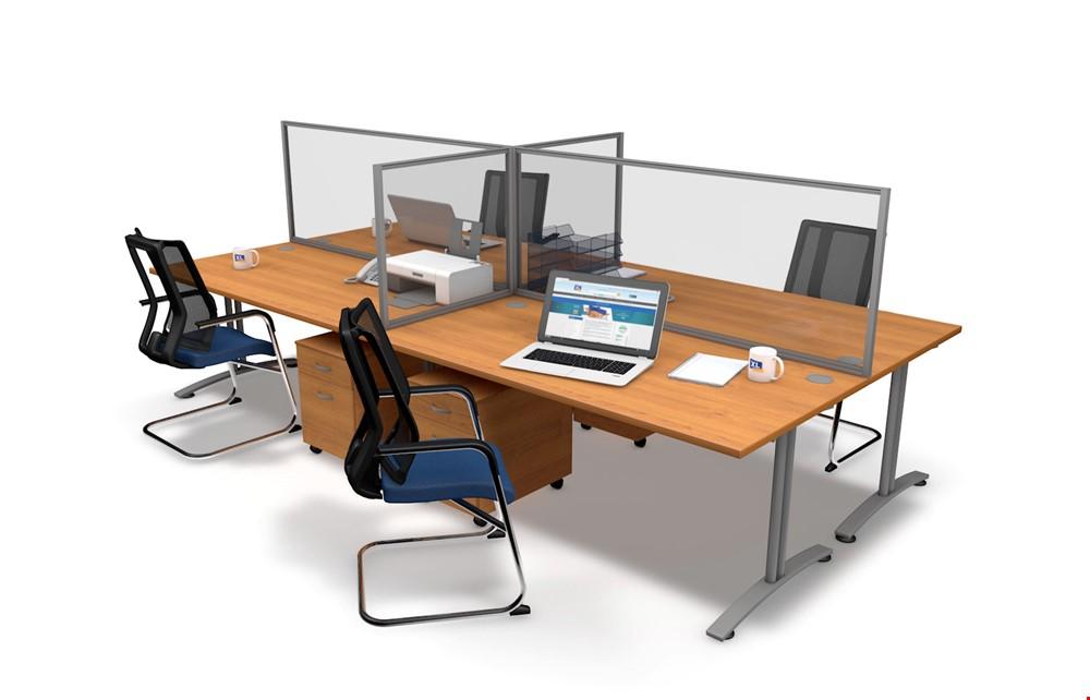 Framed Clear Perspex Desk Divider, Office Desk Divider Screens