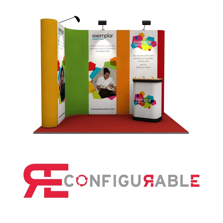 L-Shaped 2m x 3m Pop Up Exhibition Stand