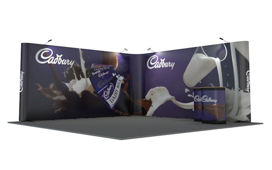 L-Shaped Linked Pop Up Stand 5m x 5m