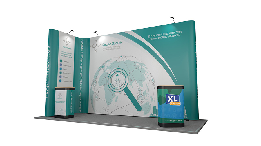 5m x 2m L-shaped XL Jumbo Linked Pop Up Display Stand