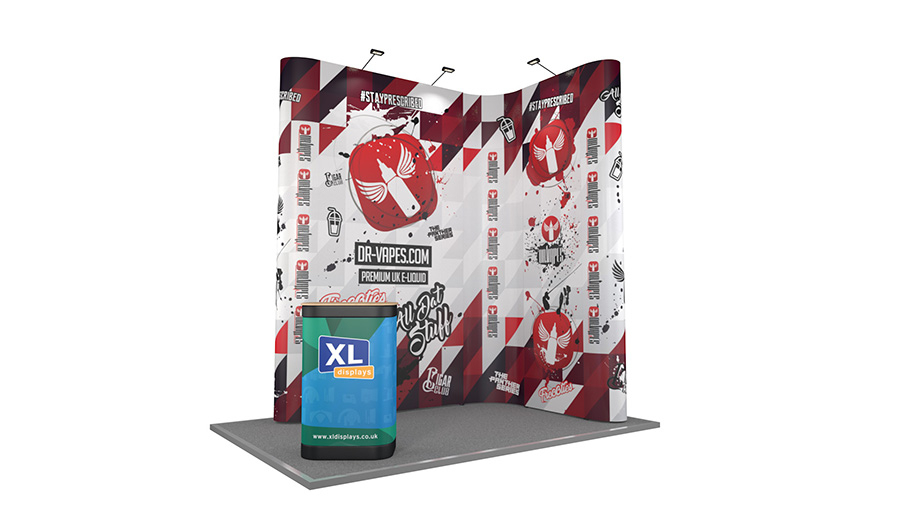 3m x 2m XL Jumbo Pop Up L-Shaped Exhibition Stand