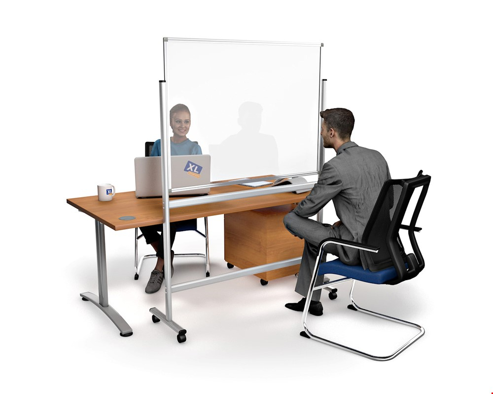 Mobile Anti Virus Perspex Meeting Divider Screen On Wheels