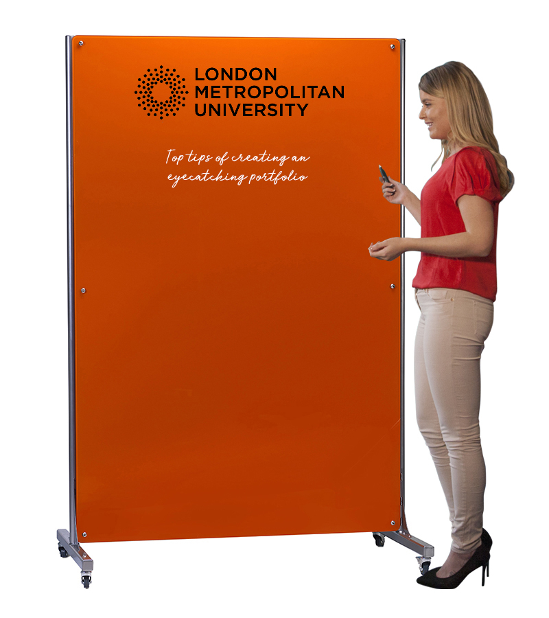 Mobile Magnetic Glass Whiteboard with Printed Logo