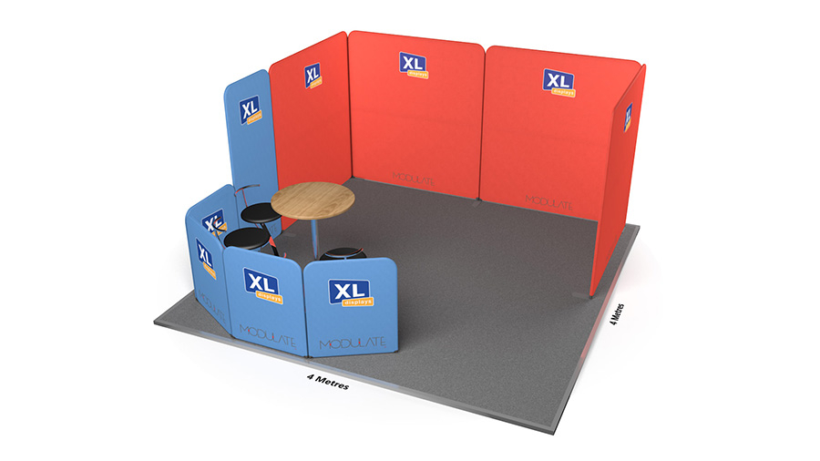 Modulate™ 4m x 4m Fabric Display Booth With Seating Area