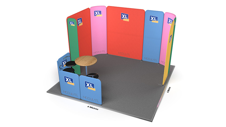 Modulate™ 4m x 4m Fabric Exhibition Stand with Seating Area