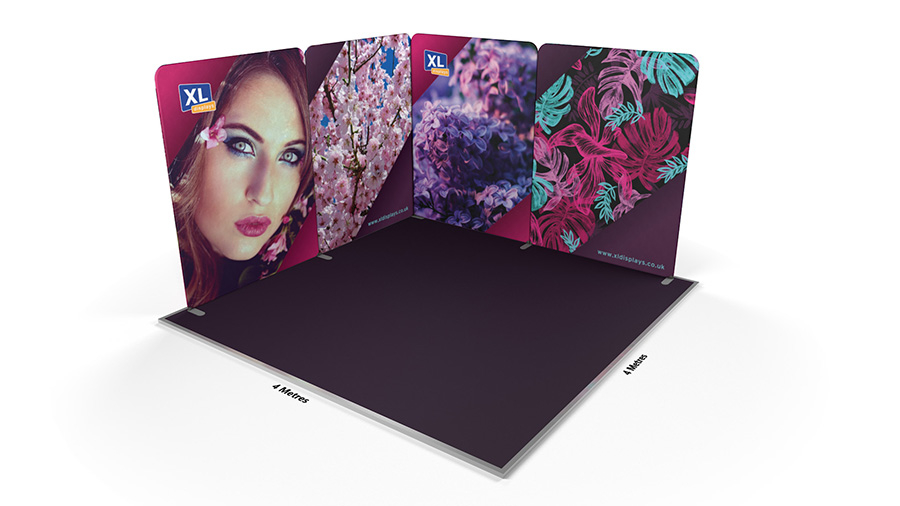 Modulate™ 4m x 4m L-Shaped Magnetic Fabric Display Stand