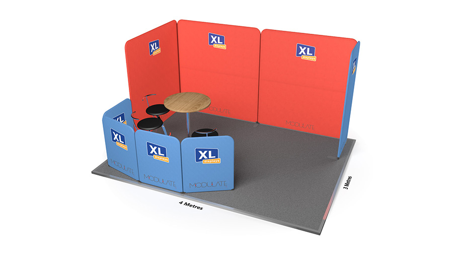 Modulate™ 3m x 4m Fabric Exhibition Stand with Meeting Area