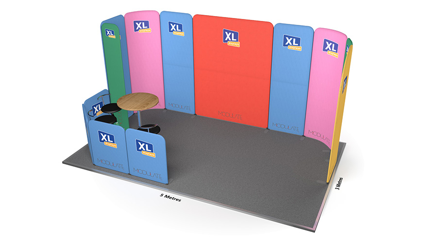 Modulate™ 5m x 3m Tensioned Fabric Exhibition Stand with Meeting Area