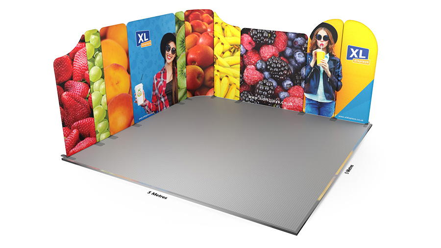 Modulate™ 5m x 5m Deluxe L-Shaped Stretch Fabric Display