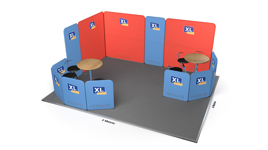 Modulate™ 5m x 4m Fabric Exhibition Stand Booth with x2 Meeting Areas
