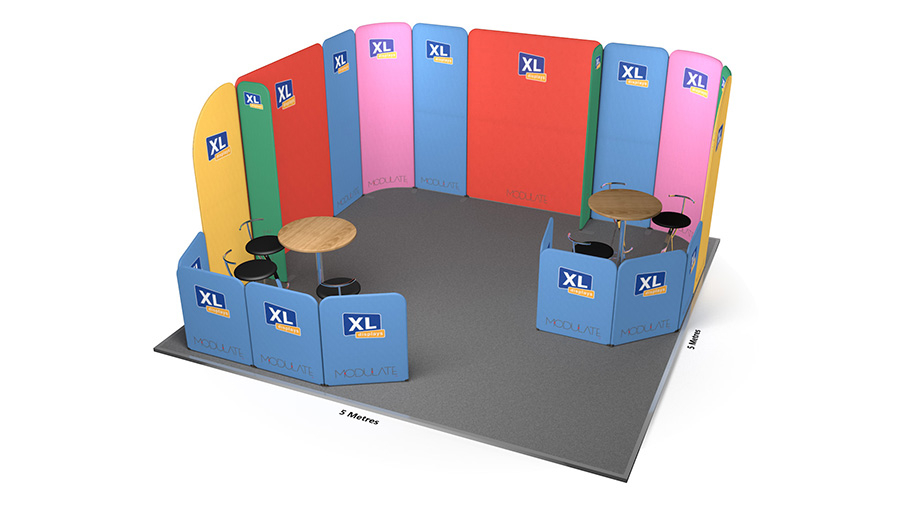 Modulate™ 5m x 5m Fabric Exhibition Booth with x2 Meeting Areas
