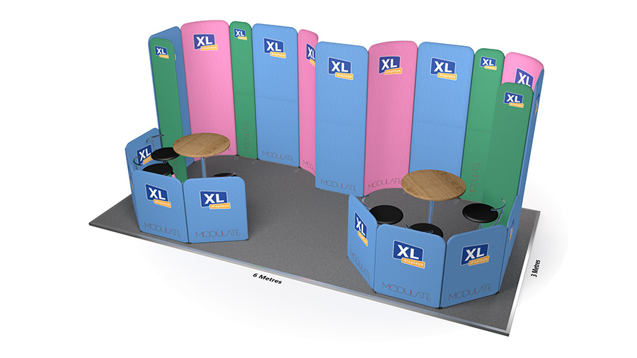 Modulate™ 6m x 3m Curved Fabric Exhibition Stand Booth