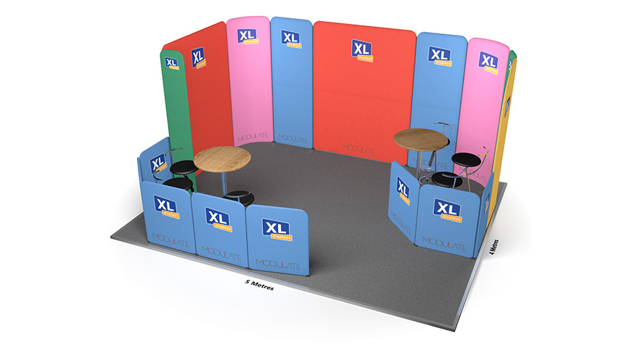 Modulate<sup>™</sup> 5m x 4m Fabric Meeting Booth With Seating Area