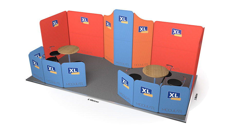 Modulate<sup>™</sup> 6m x 3m Curved Fabric Exhibition Stand with x2 Meeting Areas