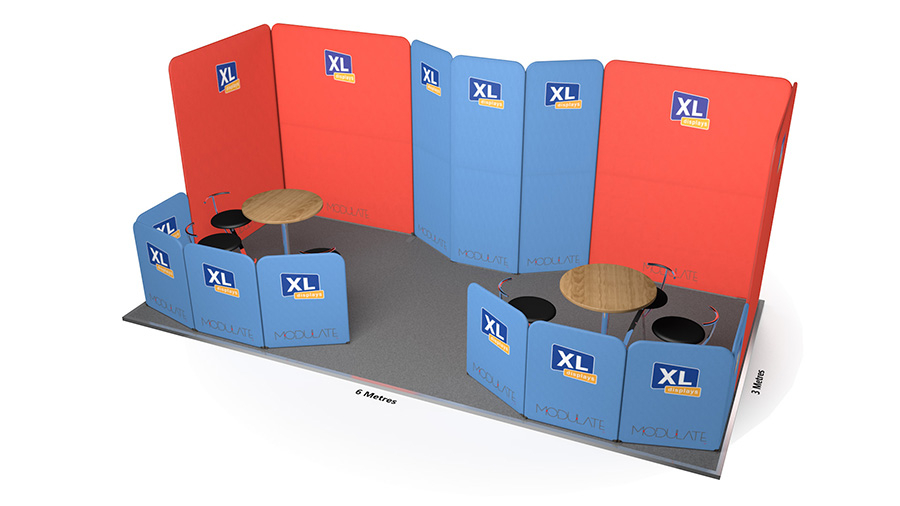 Modulate<sup>™</sup> 6m x 3m Stretch Fabric Exhibition Stand With Seating Areas