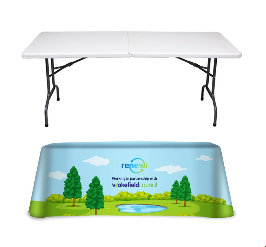 All Over Printed Tablecloth and Folding Table Exhibition Bundle