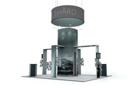 Linear Vector Exhibition Stand Island with Arches and Hanging Display
