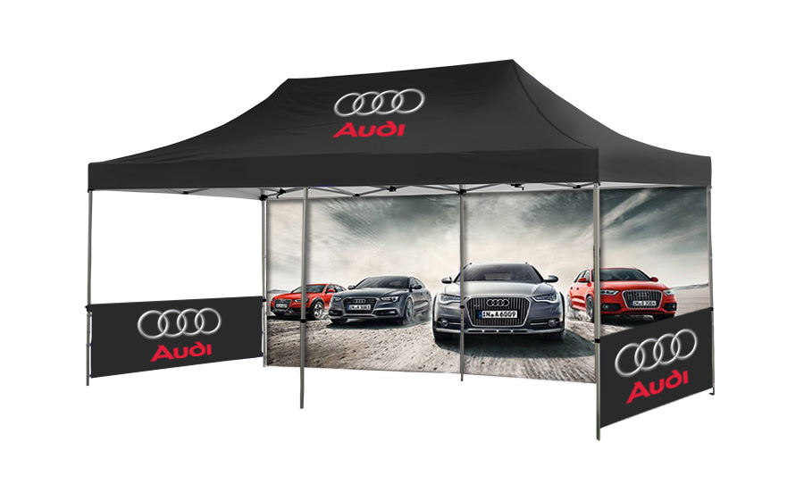 Large Printed Gazebo with Printed Back Wall and 2 Half Side Walls