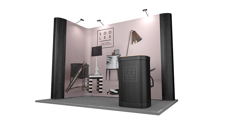 2m x 3m Exhibition Stand L Shape Linked Pop Up Stands