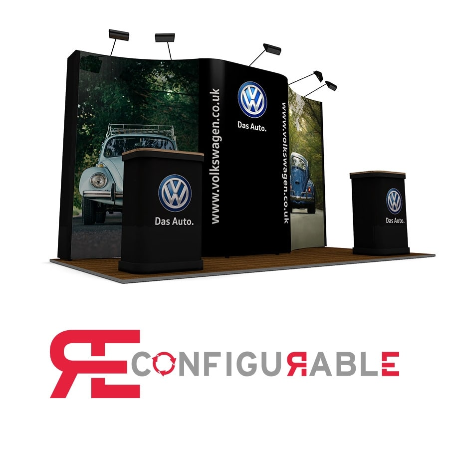 2m x 4m Pop Up Exhibition Stand Back Wall