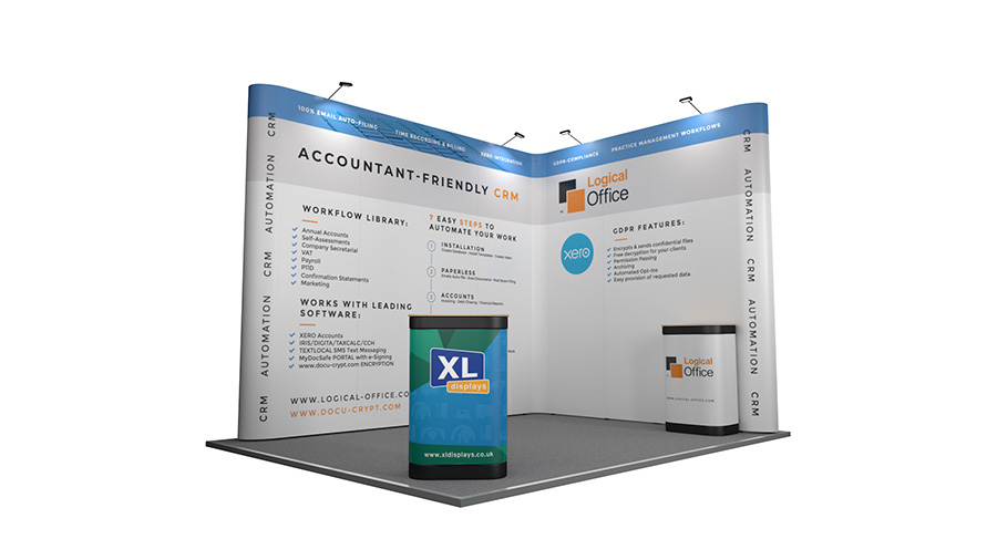 Exhibition Display Stands : 3m x 4m linked pop up stands backwall exhibition stand